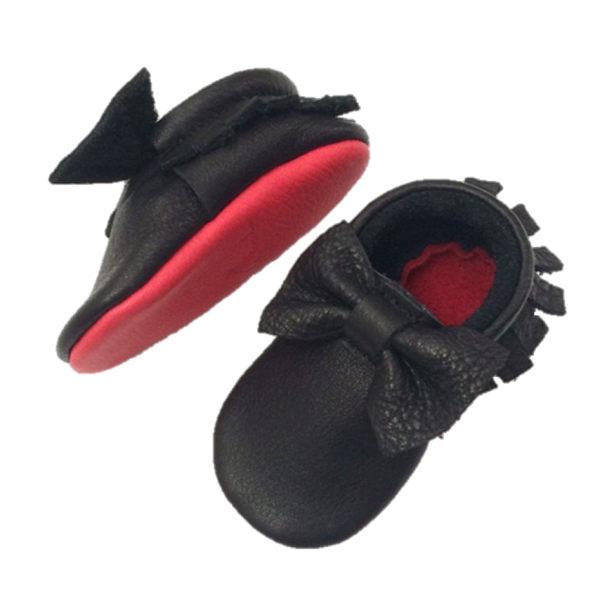 Little Lambo 真皮手工蝴蝶結學布鞋-黑紅 Bow Black Loubs