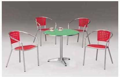 【 C . L 居家生活館 】F-873 鋁管休閒桌椅組(一桌四椅)/圓面鋁桌Ø90*71 cm