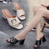 夏季新款女鞋韓版百搭涼拖鞋女士高跟鞋粗跟中跟室外一字拖鞋 秘密盒子