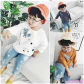 兒童恐龍長袖t恤18春新款韓版中小童卡通上衣男女寶寶寬鬆打底衫