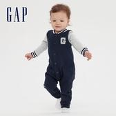 Gap嬰兒 LOGO按扣開襟一體式包屁衣 599859-海軍藍