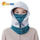 UV100 防曬 抗UV 保暖刷毛印花連帽頭套