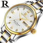 男士手錶雙日歷防水精鋼帶非機械石英錶潮流皮帶男款夜光學生手錶