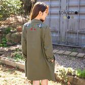 東京著衣-多色背後繡花長版帆布外套(180239)