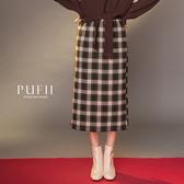 現貨◆PUFII-中長裙 格紋毛呢後開岔中長裙-1225 冬【CP17823】