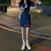 復古V領短袖法式連身裙女裝裙子顯瘦氣質收腰牛仔裙【CH伊諾】