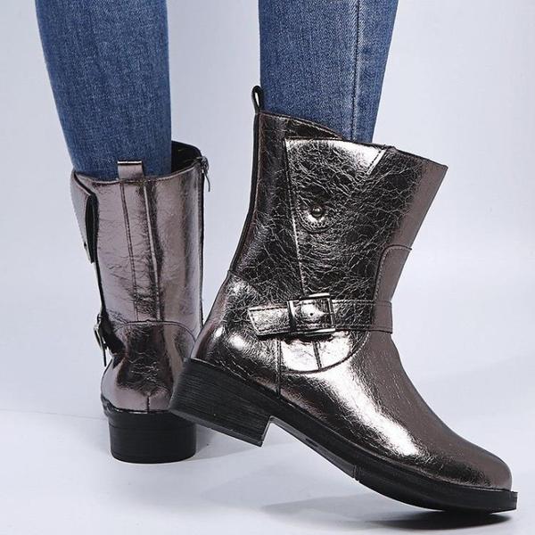 清倉特價 35-43碼 大碼女鞋41秋冬中筒馬丁靴子女厚底新款時尚英倫風短靴42