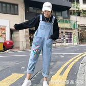 春裝新款韓版女裝褲子寬鬆闊腿褲背帶褲九分褲繡花牛仔褲學生 糖糖日系森女屋