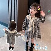 女童連身裙春裝女寶寶格子裙兒童洋氣公主裙子【奇趣小屋】