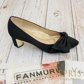 現貨 黑色粗跟蝴蝶結真絲鞋 音符公主 高跟鞋尖頭鞋 21.5-26 EPRIS艾佩絲-魅力黑