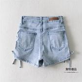 側邊綁帶高腰牛仔短褲女夏彈力緊身包臀復古熱褲【聚物優品】