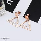雙層三角形簡約耳針耳環 / 衣櫃控-WardrobE / WM005