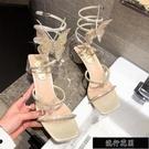 方頭涼鞋高跟仙女風蝴蝶結水鑚性感蛇形纏繞粗跟羅馬鞋2021新【全館免運】