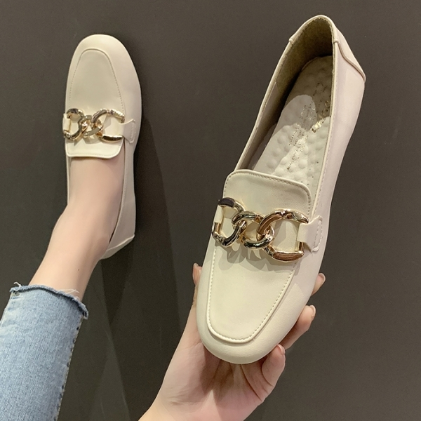 樂福鞋.MIT韓版氣質百搭金屬雙圓釦平底包鞋.白鳥麗子
