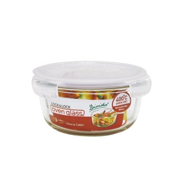 樂扣樂扣耐熱分隔玻璃保鮮盒圓形900ml便當盒LLG861D-大廚師百貨