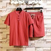 棉麻套裝 男士中老年棉麻短袖短褲一套爸爸本命年紅色衣服 米蘭shoe
