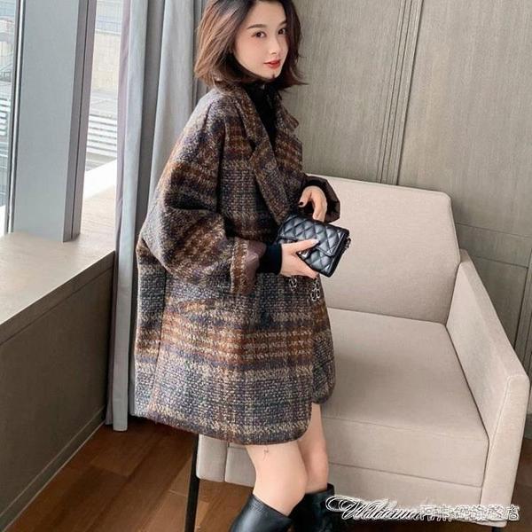 短外套外套女中長款秋冬加厚短上衣寬鬆西裝流行格子大衣女 阿卡娜