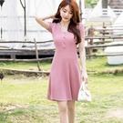 粉色顯瘦U領針織洋裝[99190-QF]美之札