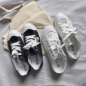 帆布鞋 夏季新款小白鞋女鞋運動百搭平底帆布休閒鞋chic學生時尚板鞋-Ballet朵朵