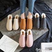 韓版情侶雪地靴短靴加絨女棉鞋學生保暖大碼女鞋低幫懶人面包鞋冬·蒂小屋