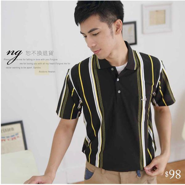 【大盤大】P82873 男 直條紋POLO衫 M L 短袖工作服 NG恕不退換 黑 網眼口袋 運動上衣 寬鬆 透氣
