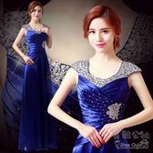 新款宴會時尚高貴優雅主持人長款連衣裙聚會顯瘦晚禮服LK3384『美鞋公社』TW