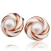 耳環 純銀鍍18K金珍珠-優雅氣質生日情人節禮物女飾品73cg20【時尚巴黎】