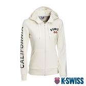 K-SWISS CA Print W/Ks Logo Jkt刷毛連帽外套-女-米白