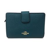 【COACH】經典 LOGO牛皮拉鍊零錢袋中夾短夾(藍綠)