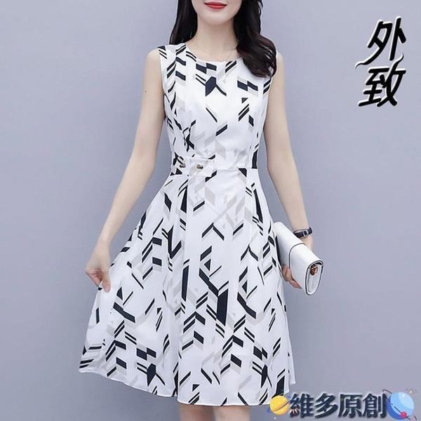 媽媽洋裝 女夏裝2021新款無袖印花雪紡連身裙修身顯瘦中長款流行裙子媽媽裝 維多原創