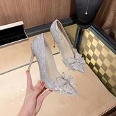 大碼高跟鞋單鞋女百搭尖頭仙女風蝴蝶結包頭水鉆細跟水晶伴娘鞋【慢客生活】