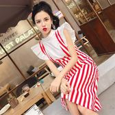俏皮套裝女兩件套夏季韓版飛飛袖上衣 高腰修身顯瘦條紋背帶裙女