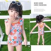 女童連體泳裝新款韓版夏季寶寶夏裝兒童泳衣小公主游泳衣 快速出貨