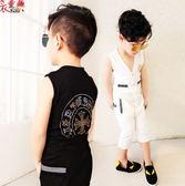 衣童趣 ♥韓版中大男童夏季無袖套裝 休閒運動款兩件式套裝 貼鑽LOGO背心+口袋褲子