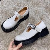 2021春秋新款淺口小皮鞋一字扣小香風日系jk單鞋方頭平跟瑪麗珍鞋 快速出貨