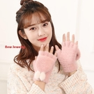 半指手套女冬保暖可愛學生毛線觸屏騎車翻蓋加絨加厚韓版卡通手套