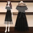 洋裝~網紗拼接大碼女裝胖妹妹遮肚子顯瘦連身裙3F024韓依紡