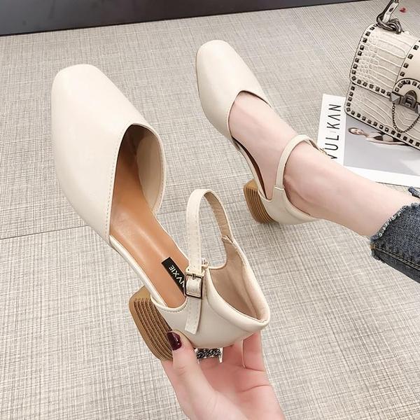 網紅時裝包頭涼鞋女仙女風潮新款夏單鞋中跟一字帶高跟鞋 快速出貨