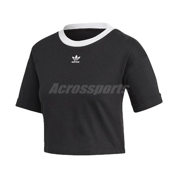 adidas 短袖T恤 Crop Top 黑 白 女款 短版 運動休閒 【ACS】 FM2557