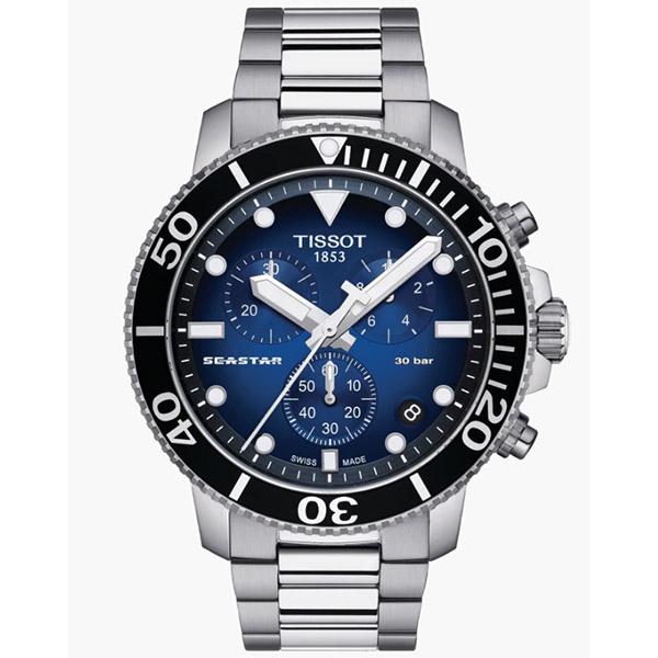 ◆TISSOT◆新上市 熱賣色鐵帶款 SEASTAR 1000 海星潛水計時碼表T120.417.11.041.01 藍漸層