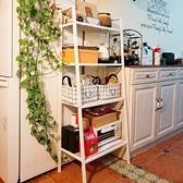 客廳置物架 歐式置物架落地多層臥室儲物架置地式陽台花架客廳白色梯形收納架【幸福小屋】