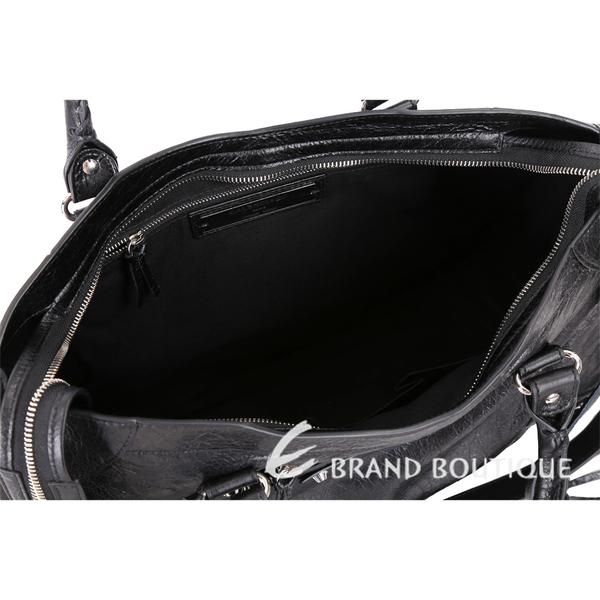 BALENCIAGA Classic City 銀釦黑色小羊皮機車包(新版背帶可調) 1820361-01