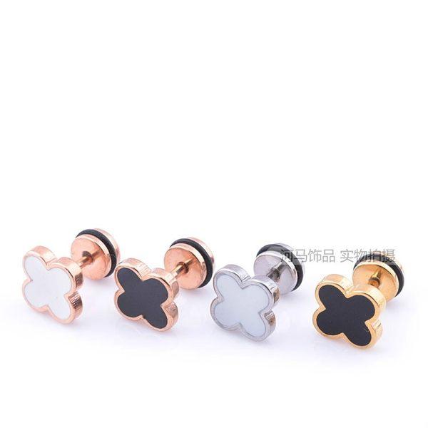 【TT】韓版钛鋼氣質四葉草銀色單耳釘男女螺旋防過敏小耳釘耳環耳扣