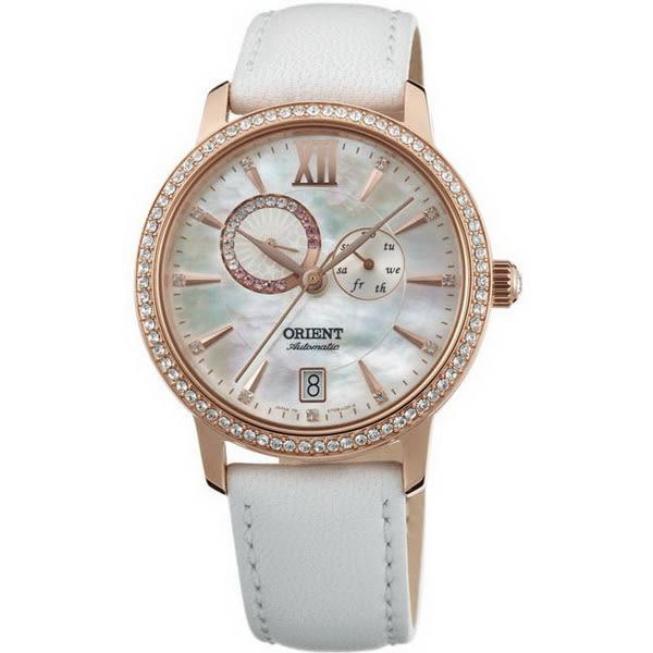 【台南 時代鐘錶 ORIENT】東方錶 SET0W001W 璀璨星辰日月相機械錶 皮帶款 珍珠白 36mm 公司貨