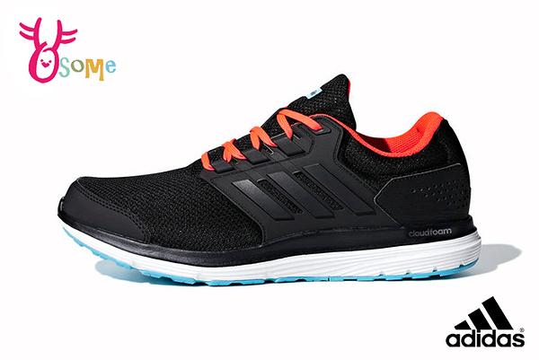 adidas運動鞋 男鞋GALAXY4慢跑鞋 透氣跑步鞋 寬楦款 耐磨 避震跑鞋Q9349#黑色◆OSOME奧森鞋業