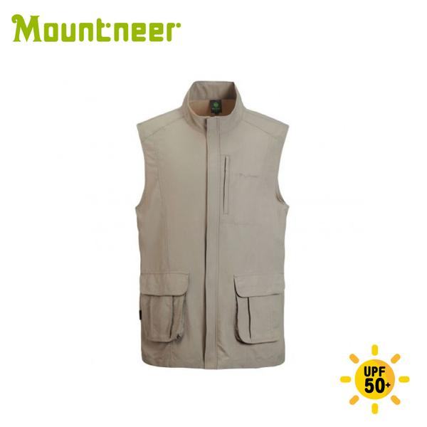 【Mountneer 山林 男 透氣抗UV背心《卡其》】21V01/背心/春夏背心/戶外/登山/防曬