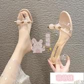 高跟拖鞋 港風夏季涼拖鞋女細跟外穿一字拖高跟鞋子百搭【萌萌噠】