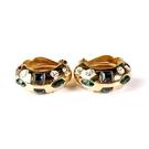 D'ORLAN 彩色水晶半月夾式耳環(金色)990118