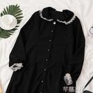連身裙 復古法式長袖連身裙女春季韓版女裝學院風過膝長裙子潮 芊墨左岸