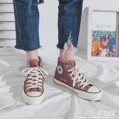 高筒帆布鞋女韓版百搭學生潮ins板鞋港風鞋子2019春季新款 千與千尋